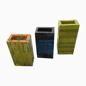 Square Vintage Vases by Aldo Londi for Bitossi, Set of 3