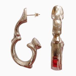 Boucles d'Oreilles Suspendues avec Poignées en Argent par Maria Juchnowska