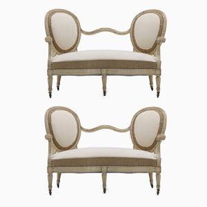 Französische Sofas mit lackiertem Gestell & cremefarbenem Calico.Stoffbezug, 2er Set
