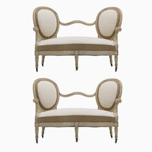 French 19th-Century Painted Sofas in Natural Burlap & Cream Calico Fabric, Set of 2