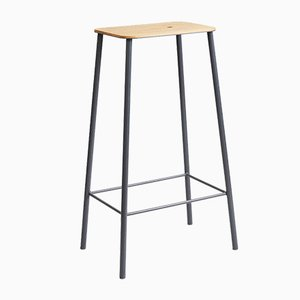 Oak & Grey Steel Adam Stool by Toke Lauridsen for FRAMA