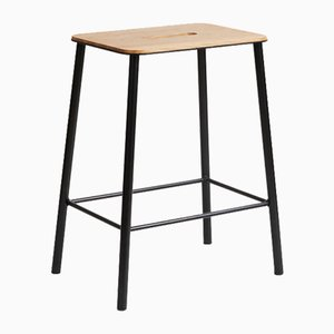 Oak & Matt Black Steel Adam Stool by Toke Lauridsen for FRAMA