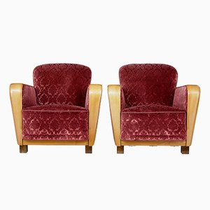 Scandinavian Elm Art Deco Armchairs, 1930s, Set of 2