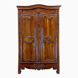 18th-Century French Yew & Chestnut Armoire