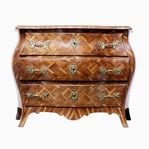 18th-Century Rococo Bombe-Shaped Parquetry Plum Commode
