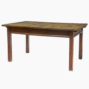 Antique Rustic Swedish Walnut Painted Kitchen Table, 1780s