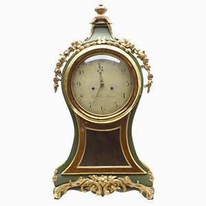 Antique Swedish Gilt & Painted Mantle Clock
