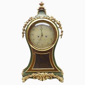 Horloge de Cheminée Antique Dorée & Peinte, Suède
