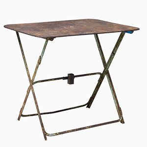 French Folding Metal Garden Table, 1920s