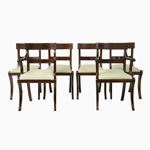 Vintage Mahogany with Brass Inlay Dining Chairs, Set of 6