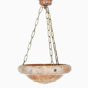 Art Deco Carved Alabaster Ceiling Lamp