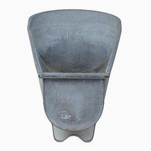 Macetero de estaño galvanizado, años 50