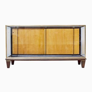 Large Brass & Teak Display Cabinet, 1950s