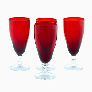 Scandinavian Red Art Glass by Monica Bratt, 1950s, Set of 4