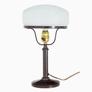 Lampe de Bureau en Bronze avec Abat-Jour en Verre Givré, 1960s