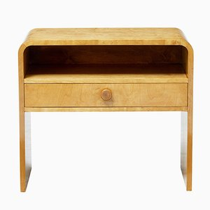 Scandinavian Shaped Birch Bedside Table, 1960s