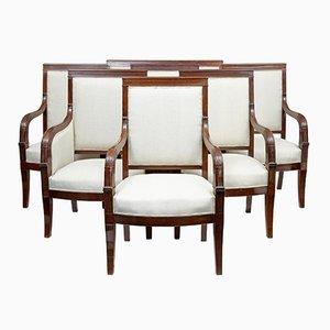 Antike französische Empire Salonstühle aus Mahagoni, 7er Set