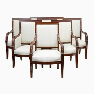 Antique French Empire Mahogany Salon Chairs, Set of 7