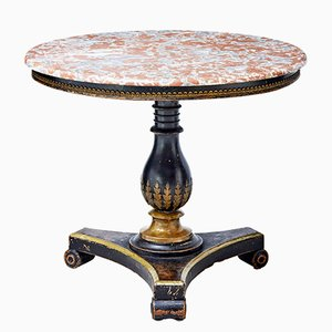 19th-Century Ebonised Center Table with Marble Top