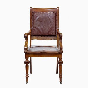 Chaise de Bureau Arts et Crafts en Acajou, 19ème Siècle