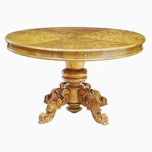 Tavolo antico regolabile in legno di betulla intagliato, Svezia
