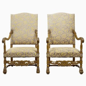 19th-Century Carved Baroque Throne Armchairs