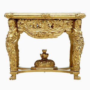 Antiker geschnitzter und vergoldeter Tisch mit Marmorplatte