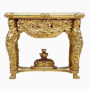Table Centrale Antique avec Plateau en Marbre Sculpté Doré
