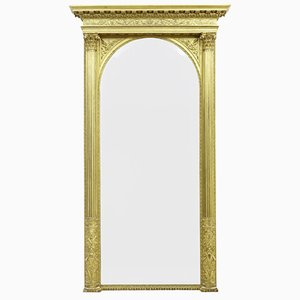 Espejo grande dorado tallado del siglo XIX