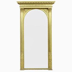 Großer Spiegel mit geschnitztem & vergoldetem Rahmen, 19. Jh.