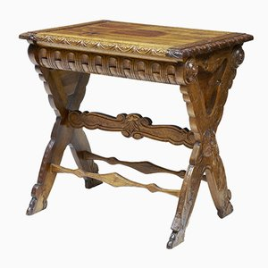 19th Century Carved Italian Walnut & Pine Occasional Table