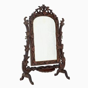 19th-Century Black Forest Carved Lindenwood Vanity Mirror
