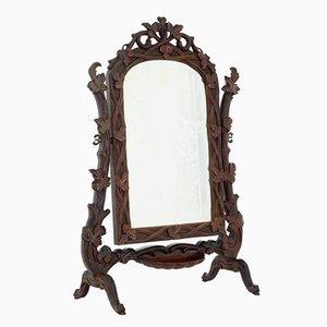 Specchio da toeletta in legno di tiglio intagliato, XIX secolo