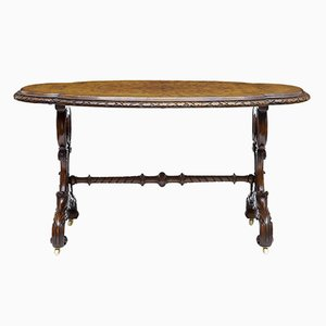 Antique Carved Walnut Oval Side Table