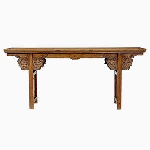 Mesa china de olmo tallado del siglo XIX