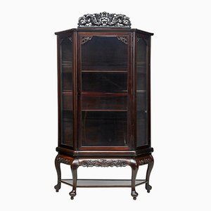 Antique Chinese Carved Hardwood Display Cabinet