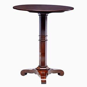 Mesa plegable danesa antigua redonda de caoba