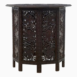 Antique Eastern Carved Octagonal Side Table