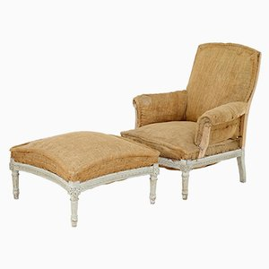 19th-Century French Armchair and Stool