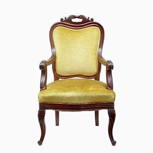 Antique French Carved Mahogany Armchair