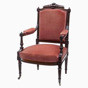 Antiker französischer Sessel mit Gestell aus geschnitztem Palisander