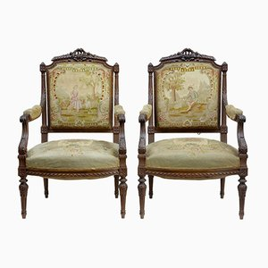 19th Century French Carved Walnut Tapestry Armchairs, Set of 2