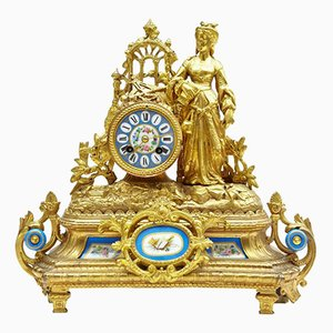 19th-Century French Gilt Mantle Clock with Sevres Plaques