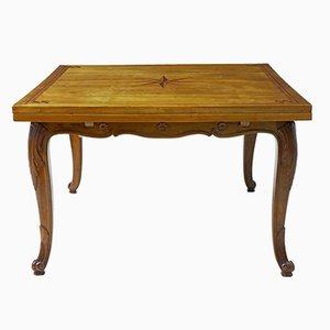 Antiker klappbarer französischer Esstisch aus Fruchtholz mit Intarsien