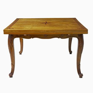 Antique French Inlaid Fruitwood Draw-Leaf Dining Table