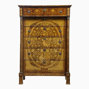 19th-Century French Inlaid Mahogany 6-Drawer Chest