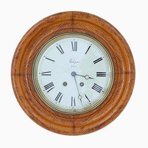 Reloj de pared francés antiguo de roble de Japy Freres