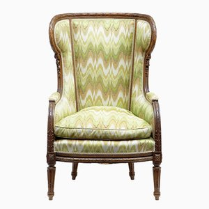Antique French Walnut Wing Back Armchair