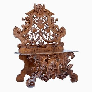 19th-Century Heavily Carved Walnut Chair