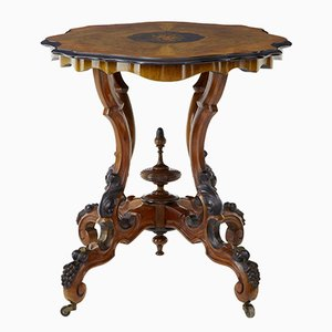 19th Century Victorian Inlaid Walnut Side Table